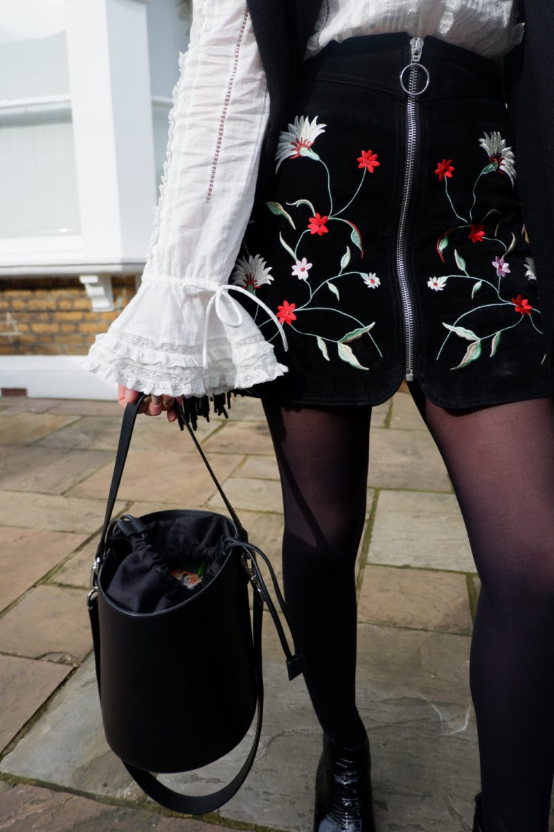 Shirt H&M<br/> Skirt: Zara<br/> Bag: JW Anderson<br/> Shoes: Acne Studios<br/> Scarf: Acne Studios