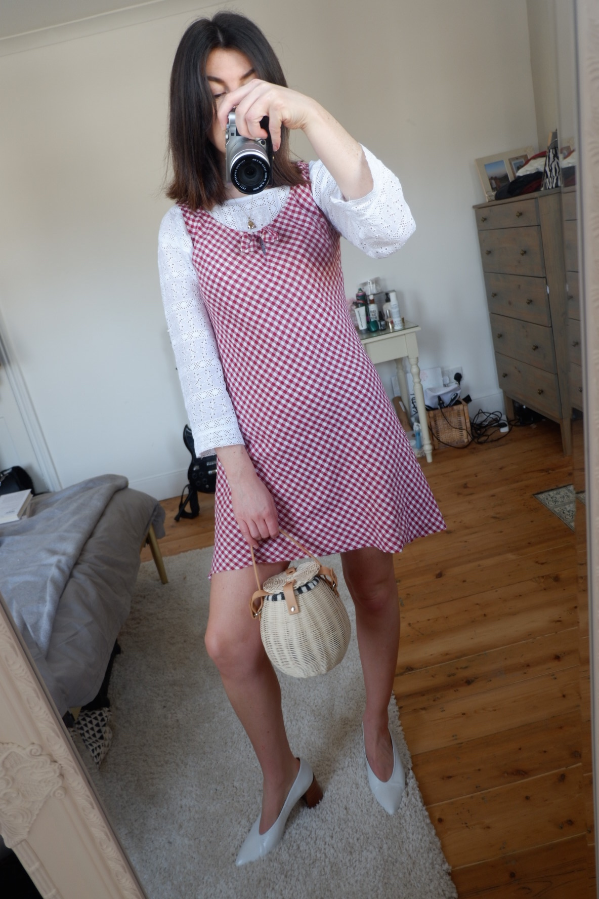 Red gingham vintage dress