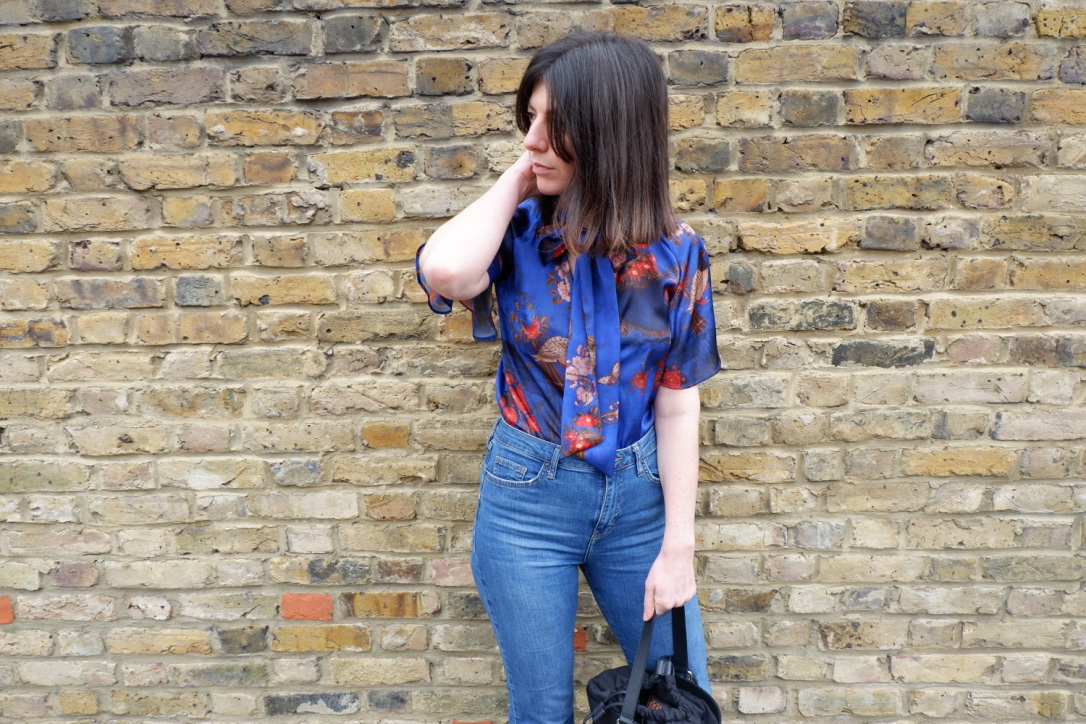 Zara oriental print blue bodysuit