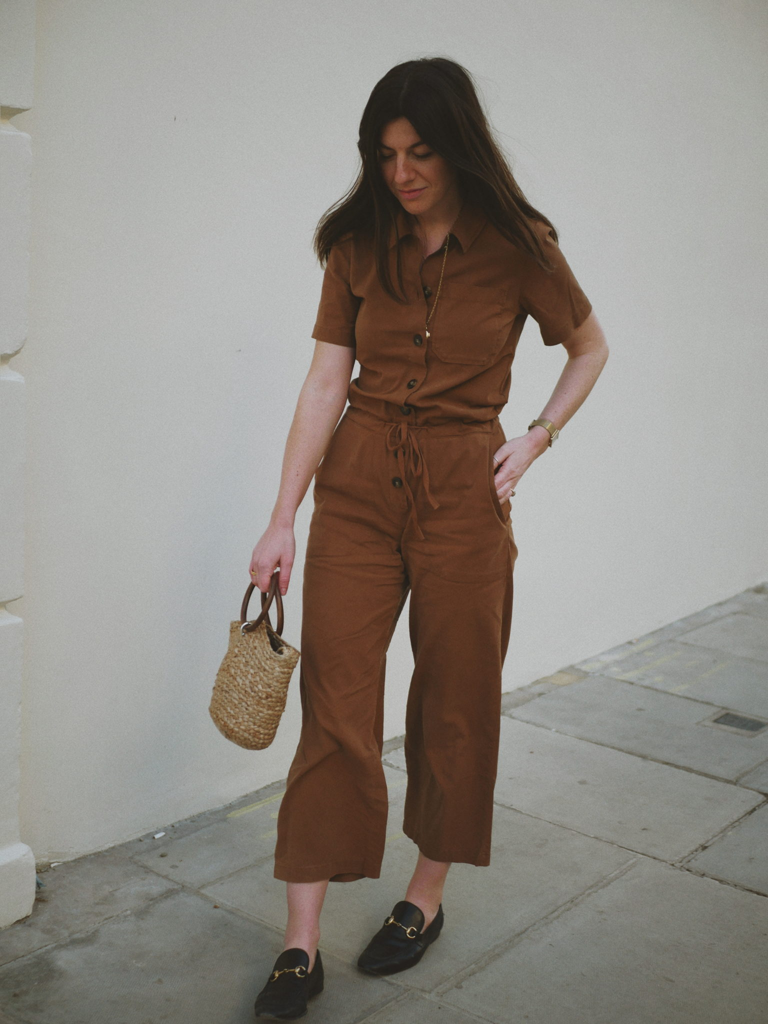 "Jumpsuit: <a href= ""https://rstyle.me/+fpDQL0D8AKL6g8qnOE0_zw""><u>Sezane</u></a><br/> Bag: Zara (last season)<br/> Shoes: <a href=""https://rstyle.me/+WcF74VuppcPaRfx3buclug""><u>Gucci (men's)</u></a><br/>"