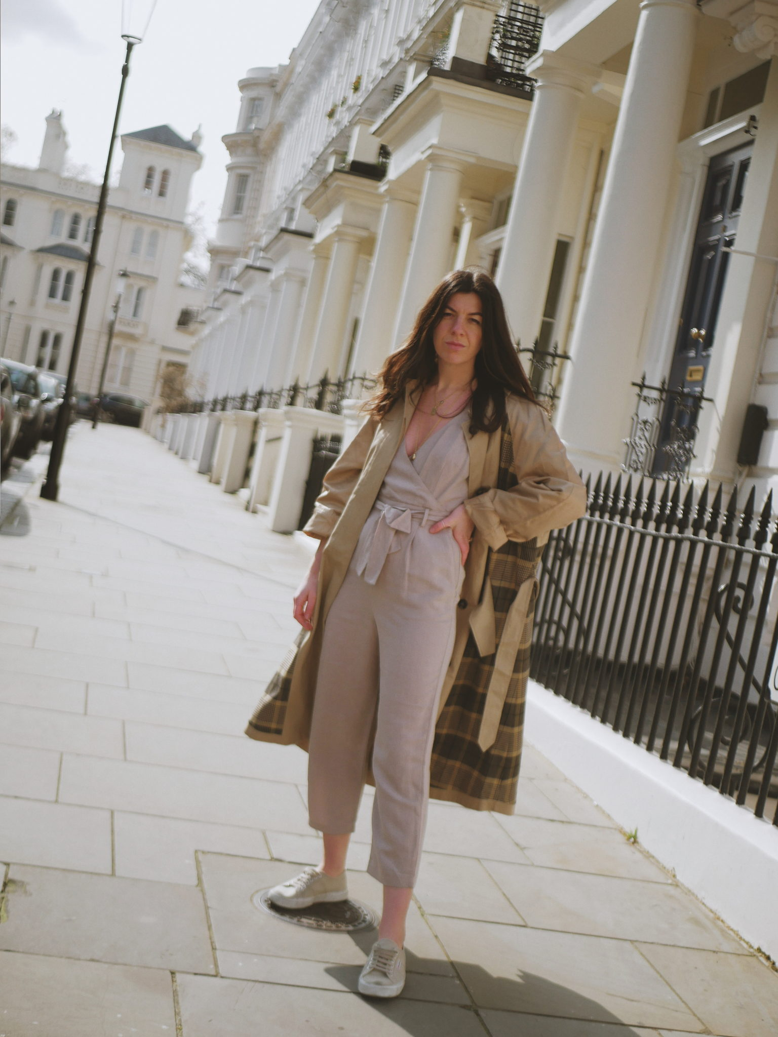 """<a href = """"https://www.frenchconnection.com/product/70laa/anais-check-belted-trench.htm?search_keywords=trench""""><u>Anais Trench</u></a><br/> <a href= """"https://www.frenchconnection.com/product/7glat/briella-linen-blend-jumpsuit.htm?search_keywords=linen%20jumpsuit""""><u>Briella Linen Jumpsuit</u></a><br/>"""