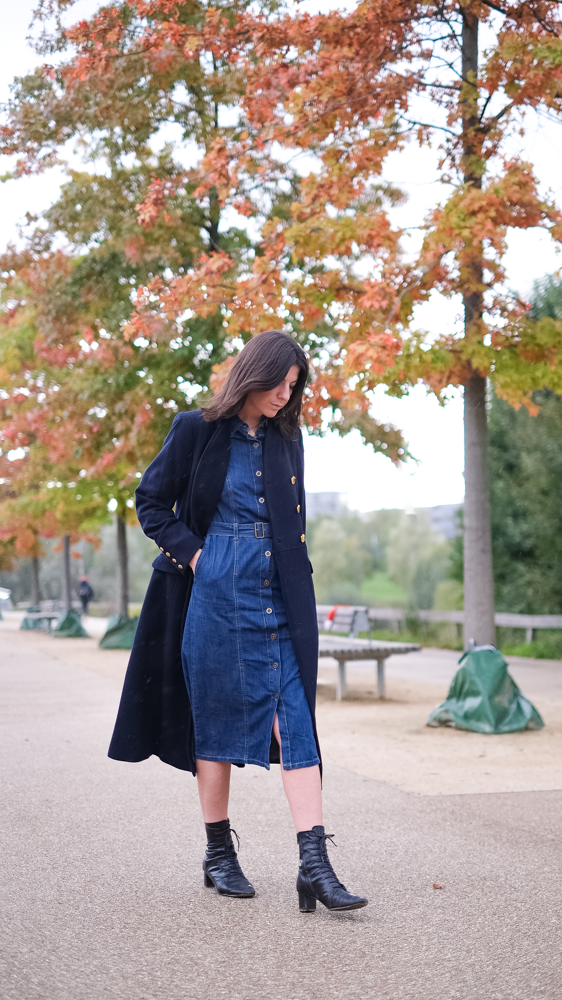 monsoon denim belted midi dress